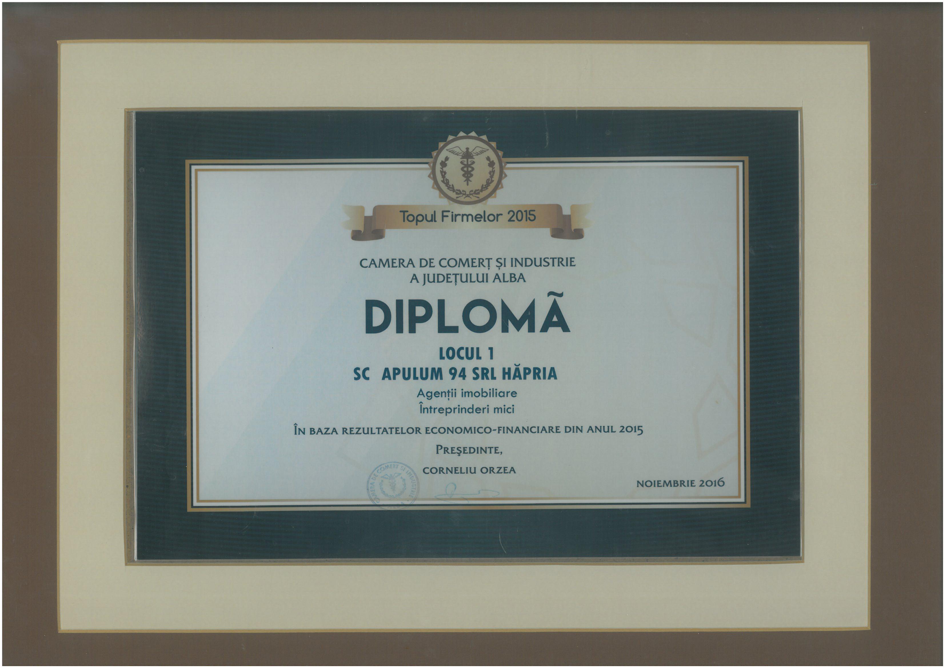 Camera de Comert si Industrie Alba – 2016 - Diploma Locul 1