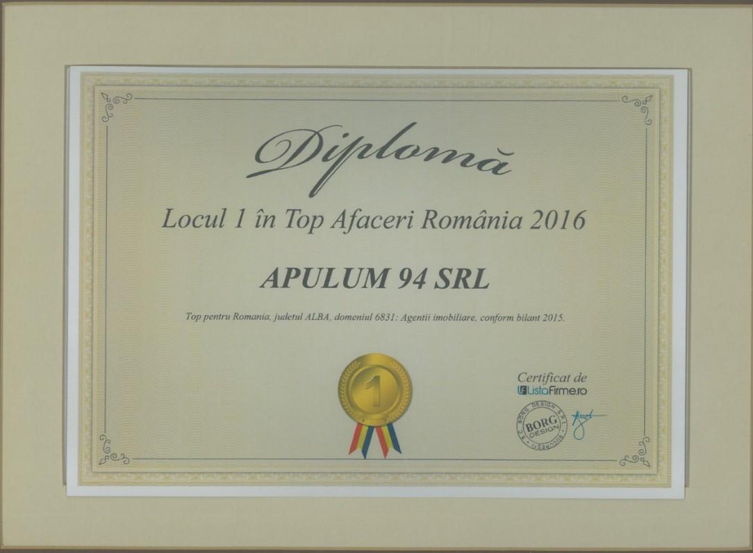 Diploma - Top Afaceri Romania – judetul Alba - 2016