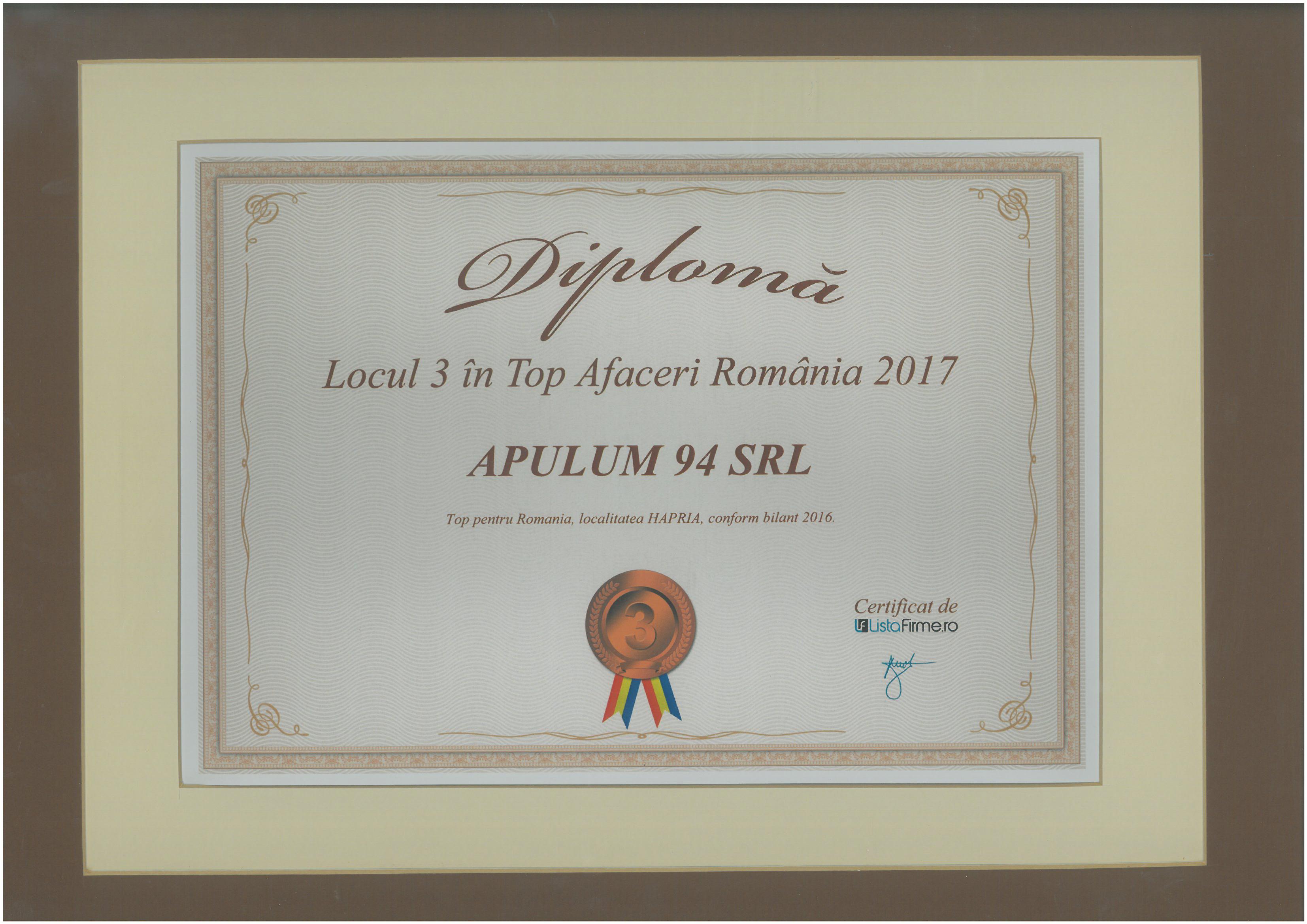 Top Afaceri Romania – 2017 - Locul 3