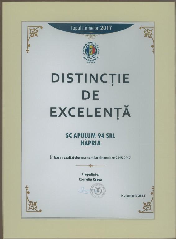 Distinctie de excelenta - Topul Firmelor - 2017