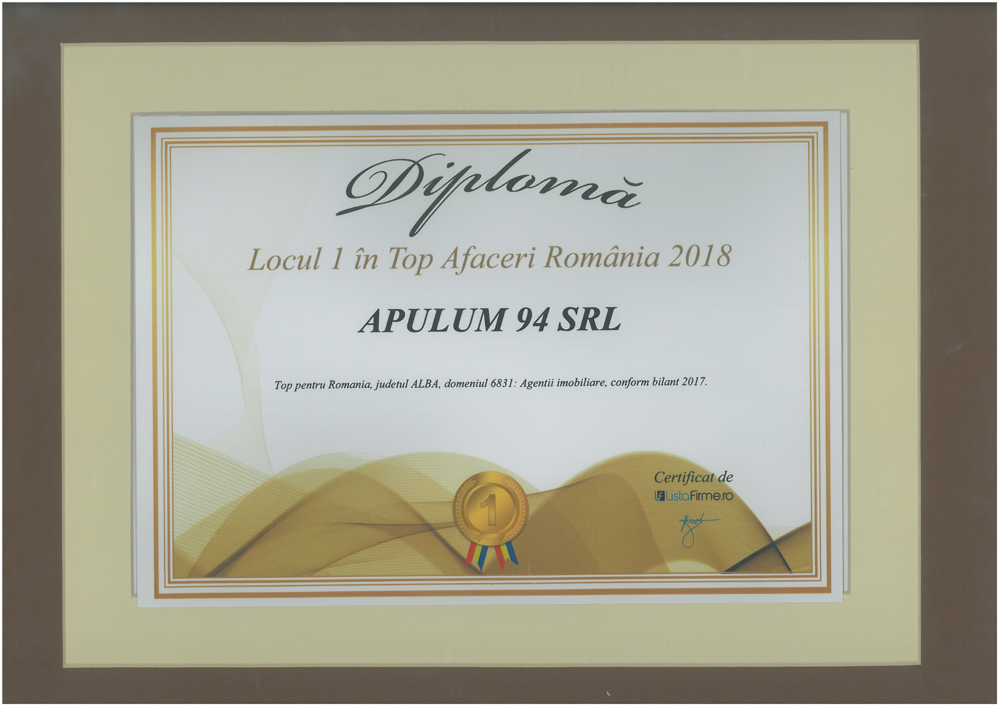 Top Afaceri Romania – 2018 - Locul 1 - jud. Alba