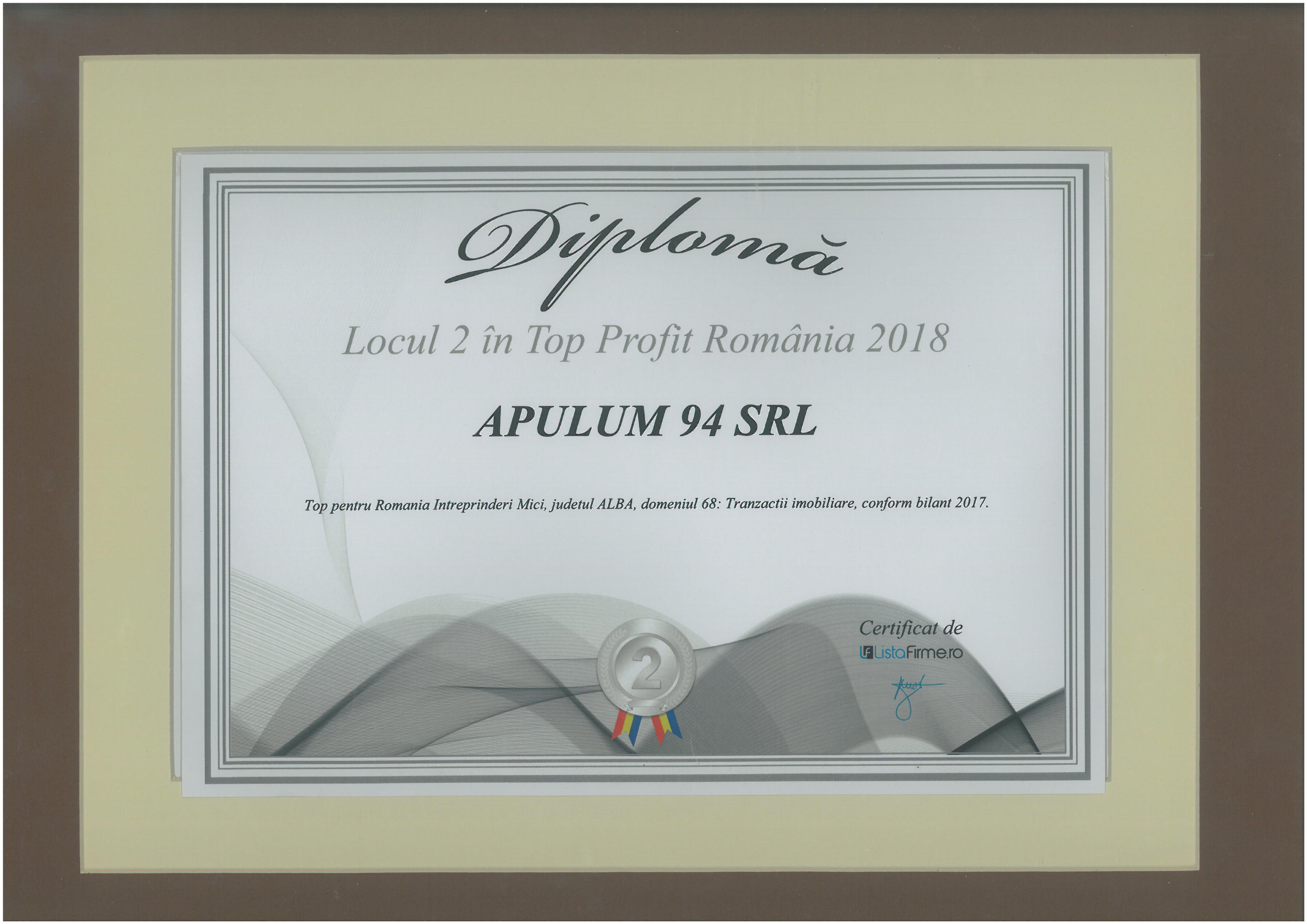 Top Profit Romania – 2018 - Locul 2