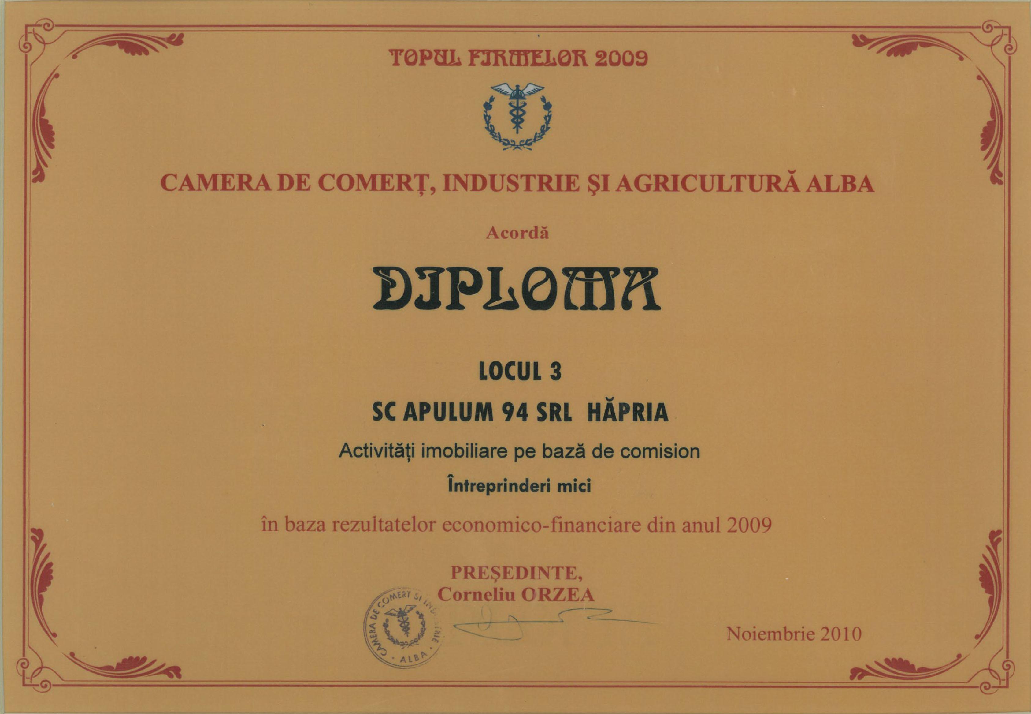Camera de Comert, Industrie si Agricultura Alba – noiembrie 2010