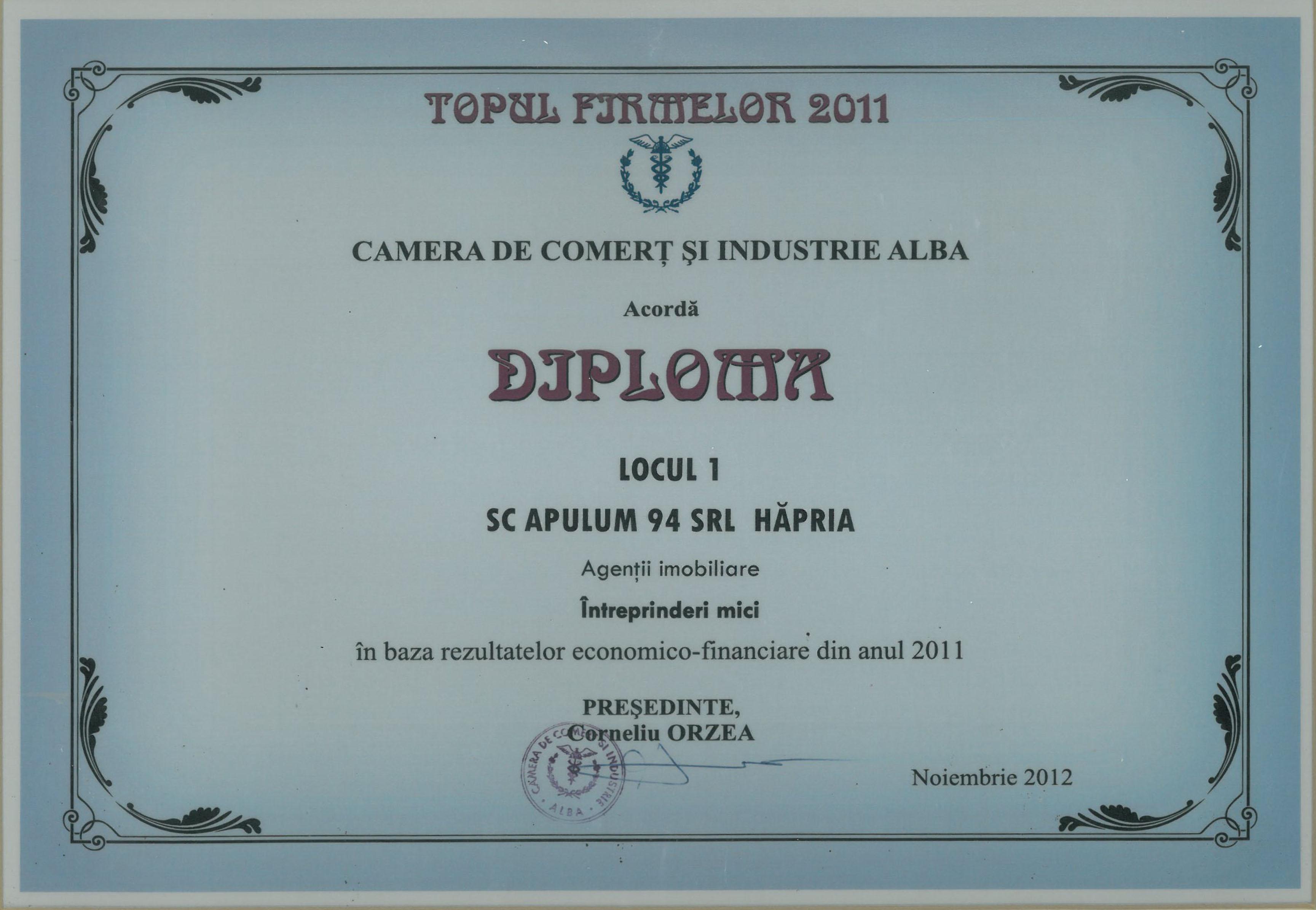 Camera de Comert si Industrie Alba – 2012