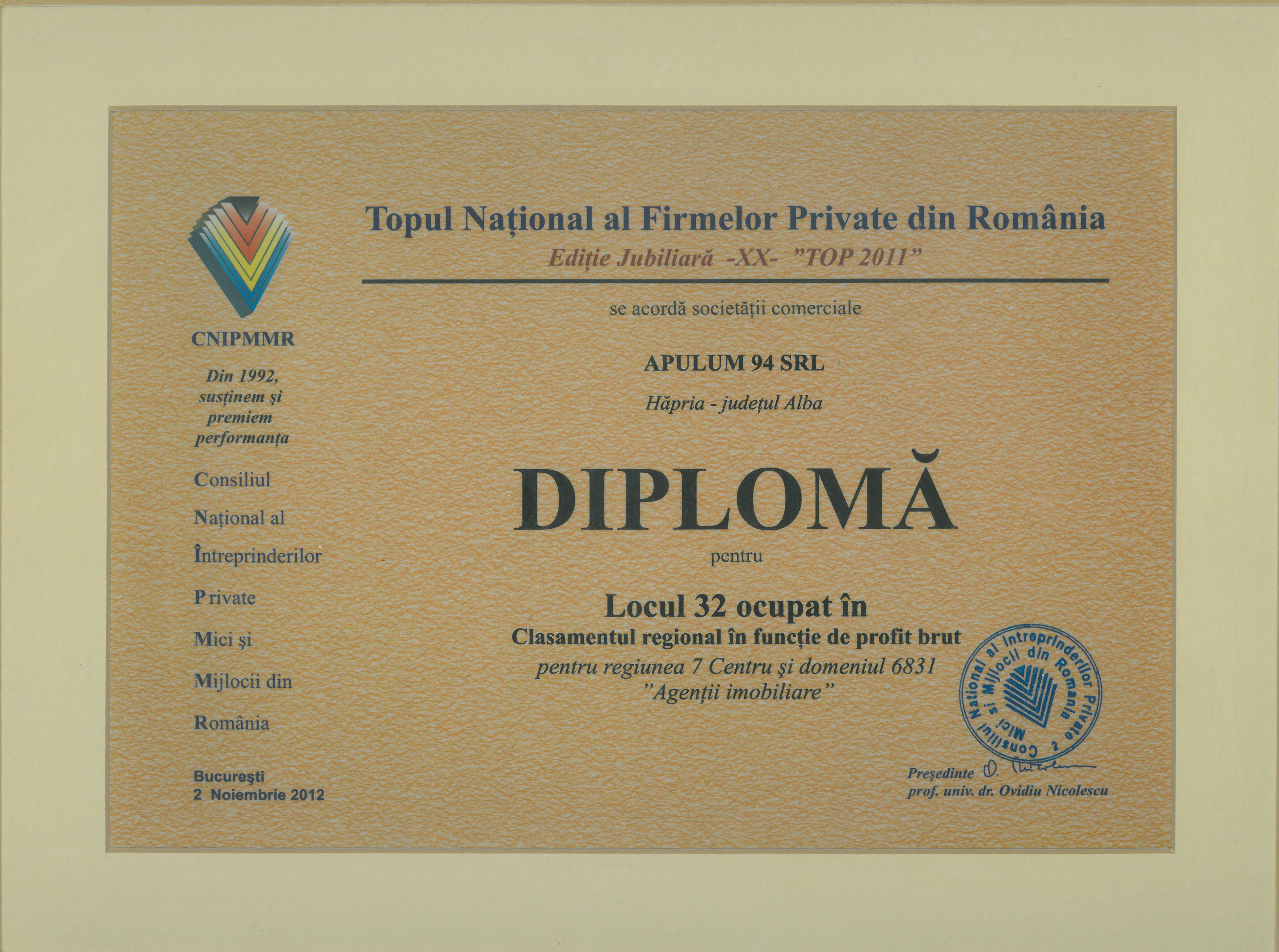 Topul National al Firmelor Private din Romania – 2012